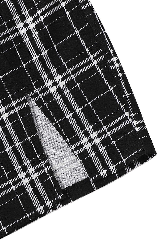 MakeMeChic Women's Short Sleeve Crop Top Tee & Plaid Print High Waist Mini Skirt Set