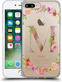 Head Case Designs Letter M Decorative Initials Soft Gel Case Compatible for iPhone 7 Plus/iPhone 8 Plus