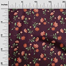 oneOone Silk Tabby Wine Fabric Flower & Leaves Watercolor Quilting Supplies Print Sewing Fabric by The Meter 42 Inch Wide