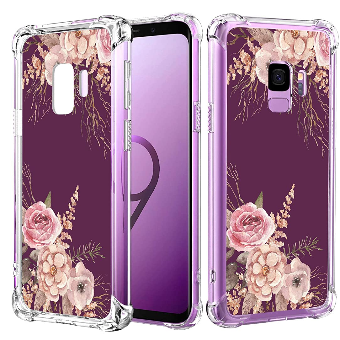 JOYER Compatible Galaxy S9 Case, Clear Soft Flexible TPU Case Shockproof Rubber Silicone Skin with Flowers Floral Back Cover for Samsung Galaxy S9 (2018) (Purple Peony-2)