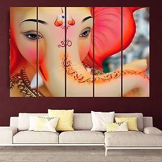 KYARA ARTS 7mm Hard MDF Board Wooden Split Digital Ganesha Wall Painting in Multiple Art Panels (148 x 76cm) - 5 Pieces