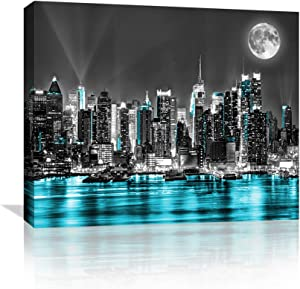 Teal Wall Decor for Bedroom Canvas Wall Art Decor Paintings for Bedroom Bathroom Black Art Paintings for Wall Pictures, Modern Framed Paintings Artwork for Home Art Prints with Wood Fram Size 12x16 Inch