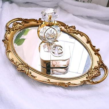 Mukily Mirrored Tray,Decorative Mirror for Perfume Organizer Jewelry Dresser Organizer Tray & Display,Vanity Tray,Serving