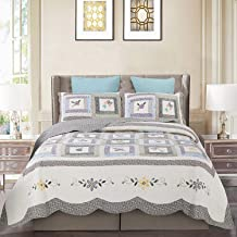 Vintage Patchwork Bedspread, Cotton Throw with Pillowcase for All Season, Double-Sided Reversible Coverlet B 240×260cm