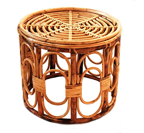 Zilver Handmade Handcrafted Designer Antique and Vintage Look Cane Wicker Rattan Stool Ottoman Chair for Living Room Furniture Patio Home Balcony Garden Burnish Brown