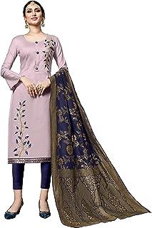 1719f96b80 Rajnandini Women's Light Purple Pure Heavy Jam Cotton Embroidered Unstitched  Dress Material(JOPLMD7301_Light Purple_Free size