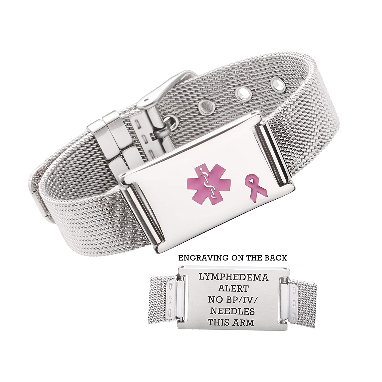 linnalove Lymphedema Alert No bp/iv/Needles This arm Stainless Steel Milanese Medical ID Alert Bracelet for Breast Cancer Adjustable