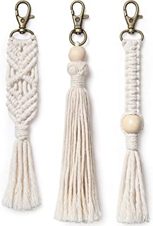 Mkono Mini Macrame Keychains Boho Bag Charms with Tassels Handcrafted Accessory for Car Key Holder, Purse, Phone Wallet, Natural White, 3 Pack