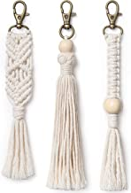 Mkono Mini Macrame Keychains Boho Bag Charms with Tassels Handcrafted Accessories for Car Key Holder, Purse, Phone Wallet,Unique Unique Christmas Decorations Gift, Natural White, 3 Pack