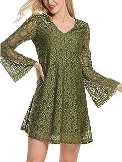 Womens Elegance Casual V-Neck Lace Flowy Loose Tunic Swing Long Sleeve Dress