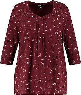 ULLA POPKEN Fältchenshirt A-Line mit Blumen T-Shirt, Aubergine, Grandi Formati Donna