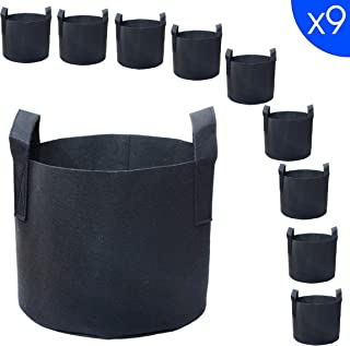 PHYEX 9-Pack 1 Gallon Nonwoven Grow Bags, Aeration Fabric Pots with Durable Handles, Come with 9 Pcs Plant Labels
