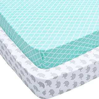 Jomolly Crib Sheets, 2 Pack Mint Quatrefoil & Elephants Fitted Soft Jersey Cotton Cover