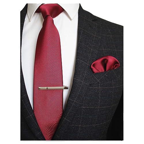 e84c8c3ced78 JEMYGINS Solid Color Formal Necktie and Pocket Square Tie Clip Sets for Men