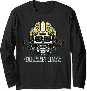 Green Bay Football Helmet Sugar Skull Day Of The Dead Long Sleeve T-Shirt