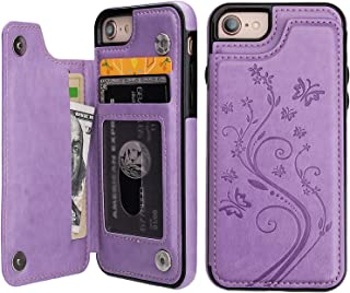 iPhone 7 iPhone 8 Case Wallet with Card Holder, Vaburs Embossed Butterfly Premium PU Leather Double Magnetic Buttons Flip Shockproof Protective Cover for iPhone 7 iPhone 8 Case(Purple)