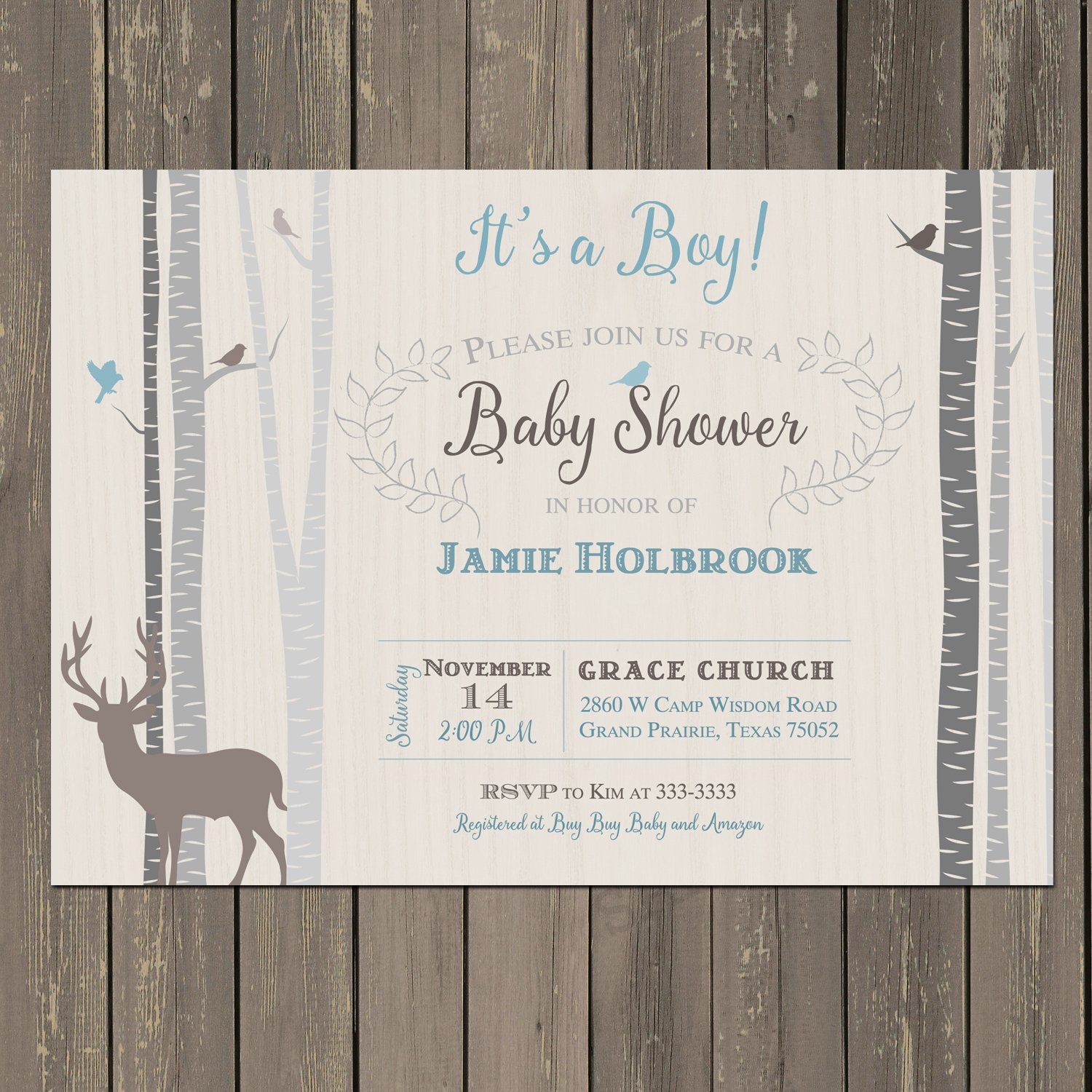 Deer and Portland Mall Birch Baby Shower Attention brand Invitation Blue in Wood Grey Tan
