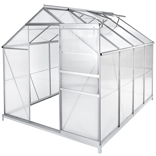 TecTake Serre de jardin et polycarbonate alu tente abri plante jardinage - diverses modèles - (250x185x195 cm avec base | no. 402475)