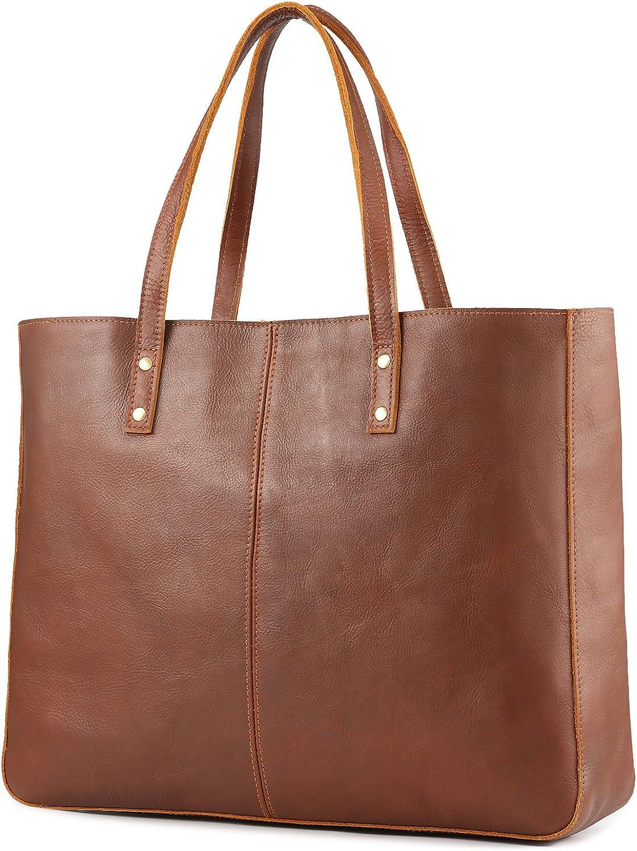 Kattee Genuine Leather Purses and Handbags for Women Vintage Tote Briefcase Laptop Shoulder Bag