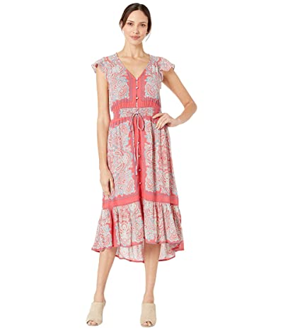 Lucky Brand Border Print Felice Dress (Red Multi) Women