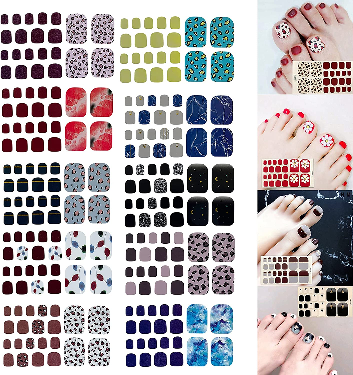 JHKUNO At the price Max 68% OFF Toe Nail Stickers for DIY Wra Adhesive Full Art Self