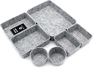 $45 » Welaxy Office Drawer organizers trays felt storage bins drawers dividers organizer bin Fathers day gifts ideas pack of 7 (Gray)