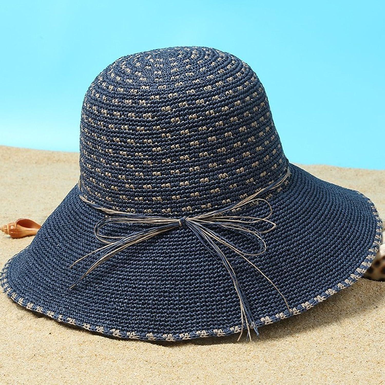 LBY Small Fresh Beach Hat Korean Version The Wild Travel Folding Sunscreen Sun Hat Big Visor Sun Hats (color   Dark bluee, Size   B)