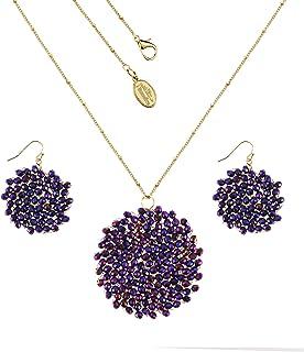 أطقم أقراط كريستال مصنوعة يدويًا من نيوميك للنساء لحفلات التخرج قرص مجوهرات