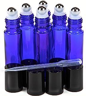 Vivaplex, 6, Cobalt Blue, 10 ml Glass Roll-on Bottles with Stainless Steel Roller Balls - .5 ml Dropper Included