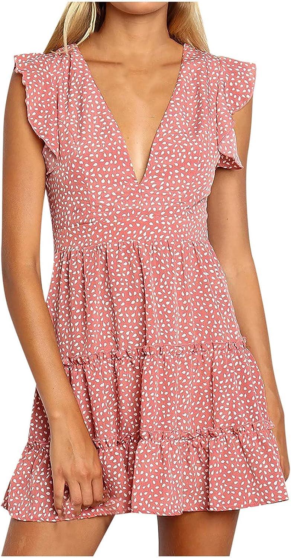 Summer Dresses for Women 2021, Women's V-Neck Sleeveless Print Slim Sexy Casual Beach Style Mini Dress Sundress co