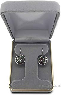 The Display Guys~ Deluxe Gray Velvet Earring & Hoop Gift Box, Jewelry Presentation Display Case Gold Trim Metal Hinge (2 1/4x3x1 1/4 inch)