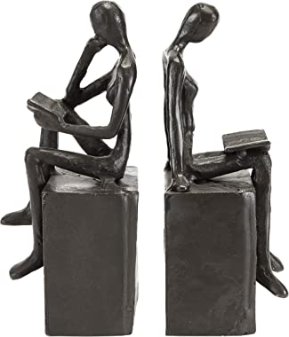 Danya B. Metal Art Shelf Decor - Decorative Cast Iron Bookend Set - Man and Woman Reading on a Block