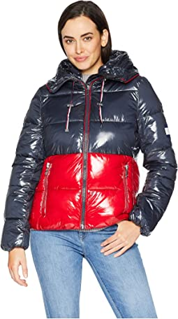 Color Block Puffer with Hood