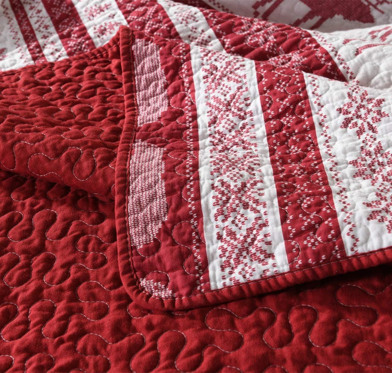 Qucover Couvre Lit 220x240 cm pour 2 Personnes avec 2 taies d'oreiller,Couverture,Reindeer,Matelassé Courtepointe en Coton 3 Pièces Rouge-220*240+2x50*70cm
