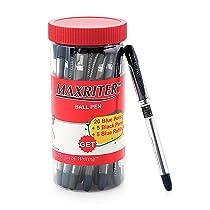 Cello Maxriter Ball Pens (Jar with 20 Blue Pens + 5 Black Pens + 5 Blue Refills)   Lightweight Ballpens   Exam Pens with grip  School & Office Stationery Ideal
