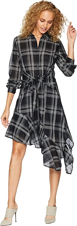 Long Sleeve Capital Plaid Tie Waist Shirt Dress