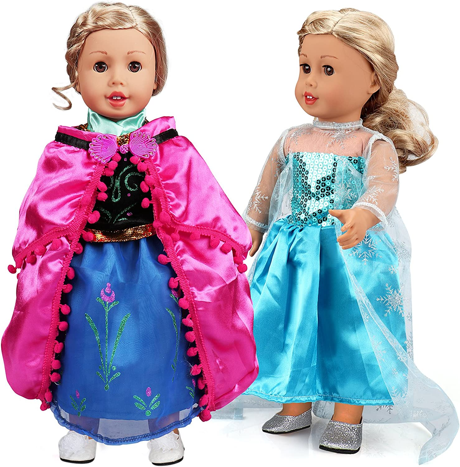 18 Inch Doll Clothes 2 Set Frozen Princess Dress Ball Gowns for American Girl Dolls by ANNTOY