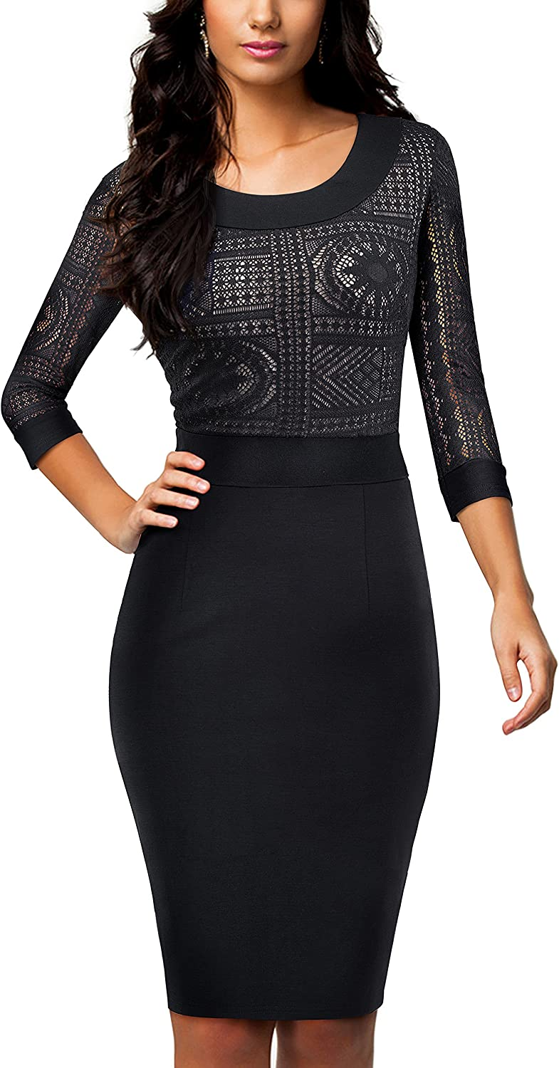 HOMEYEE Women's Casual Sheath Dress Lace Scoop Neck Business B423