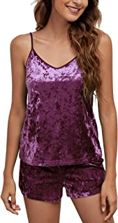 Messbebe Women's Sexy Cami Pajamas Set Sleepwear Top and Shorts pajamas Sleepwear Soft velvet Pjs