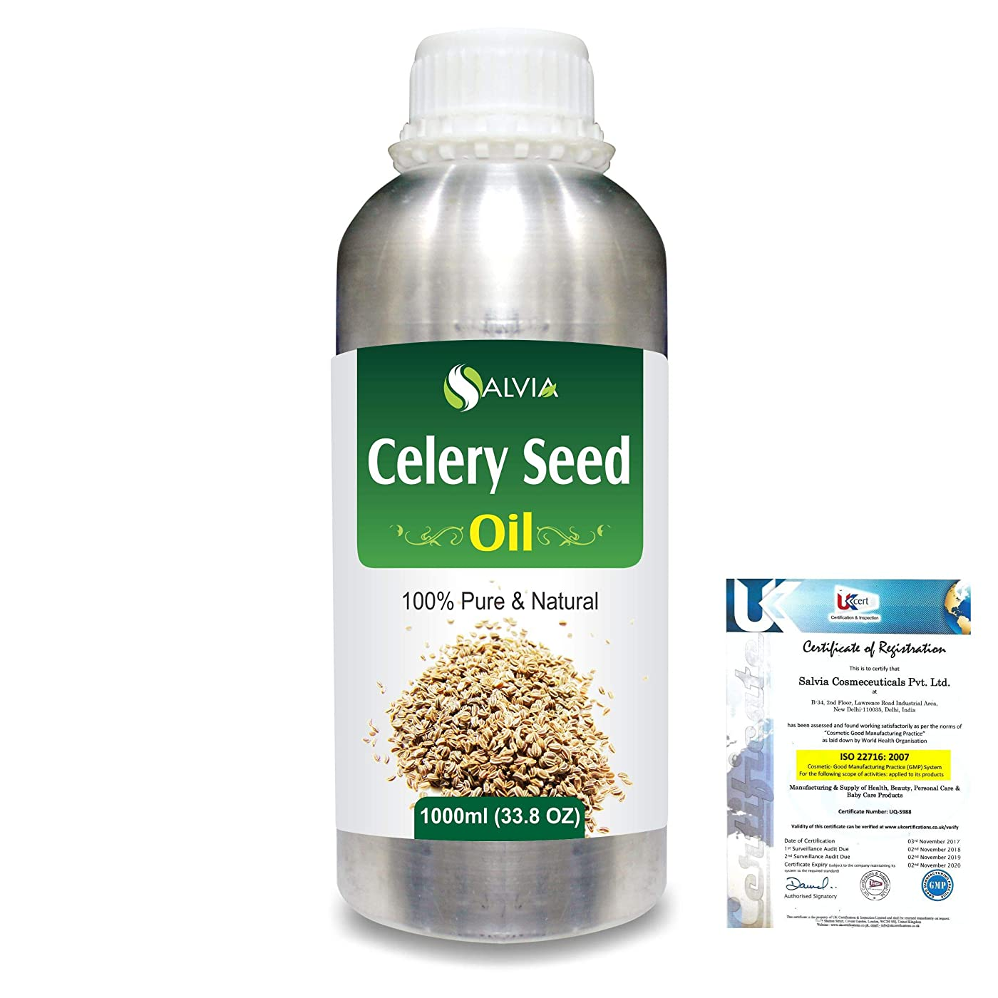 侵入爵フルーツ野菜Celery Seed (Apium Graveolens) 100% Pure Natural Carrier Oil 1000ml/33.8fl.oz.