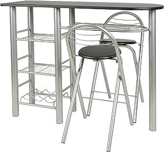 comprar comparacion Kit de 3piezas, mesa y 2taburetes para la cocina o comedor en aluminio y superficie de la mesa negra, de la ma...