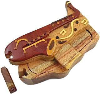 """Saxophone with Musical Notes All Natural Exotic Woods Puzzle Box, 7 x 3.5 x 2"""" with Sliding Wooden Magnetic Key Lock, Slid..."""