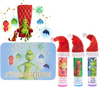 TownleyGirl Dr. Suess' The Grinch, 3 Pack Lip Balm with a water box and a sticker (The Grinch).