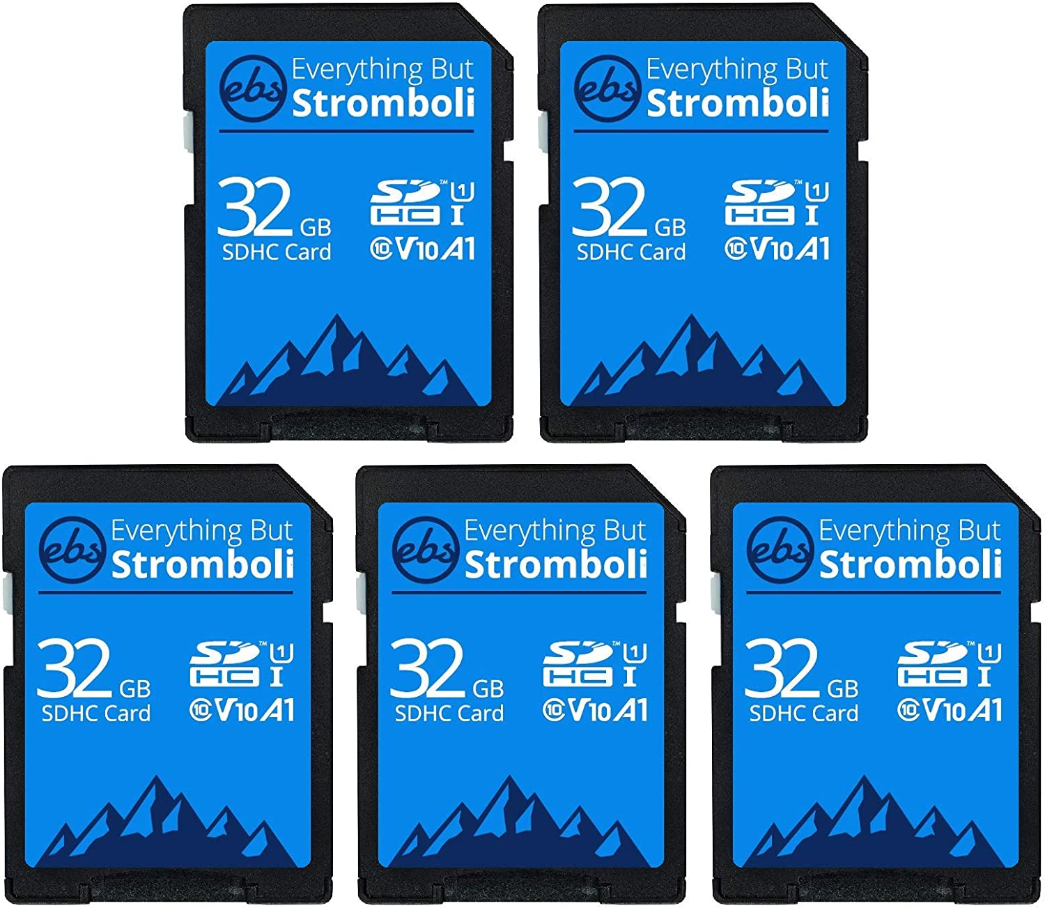 Everything But Stromboli 32GB SD Card (5 Pack) Speed Class 10 UHS-1 32G SDHC Memory Cards for Compatible Camera, Computer, Trail Cam, Video Camcorder