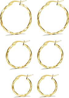 3Pairs Stainless Steel Twisted Gold Silver Small Hoop Earrings Set for Women 15-25mm
