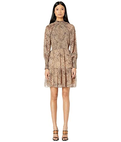 ML Monique Lhuillier Long Sleeve Dress with Smocking (Camel Multi) Women