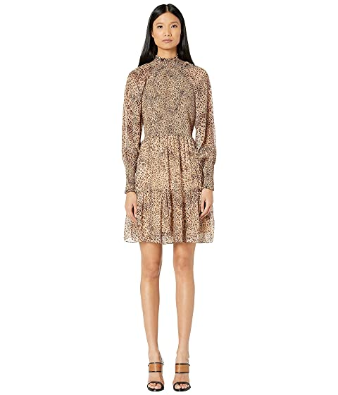 ML Monique Lhuillier Long Sleeve Dress with Smocking