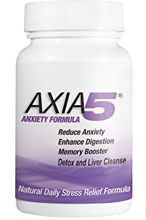 Natural Anxiety and Stress Relief Provides Liver Detox, Constipation Relief, Axia5 Detox Body Flush, Silver, 60 Count