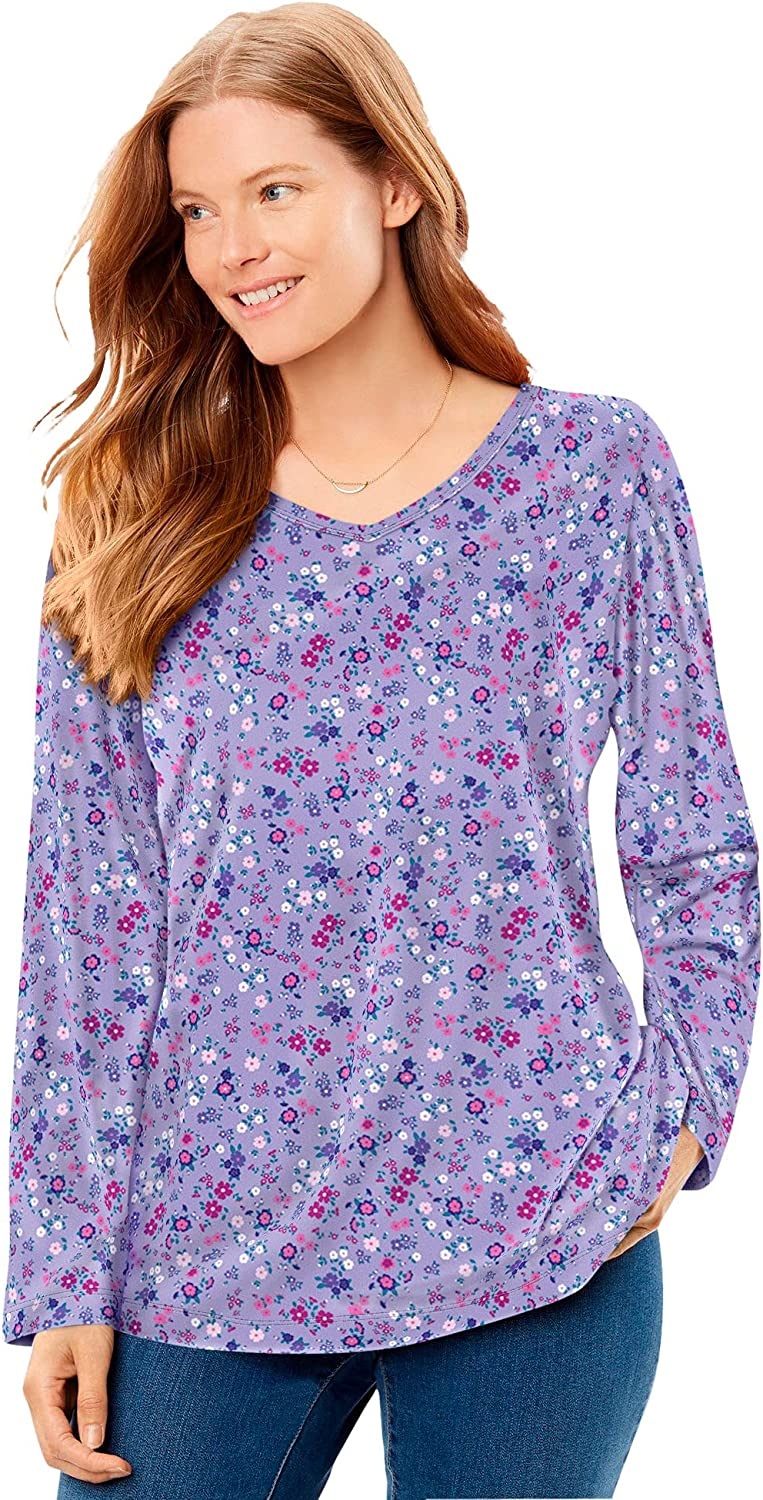 Woman Within Women's Plus Size Perfect Printed Long-Sleeve V-Neck Tee Shirt
