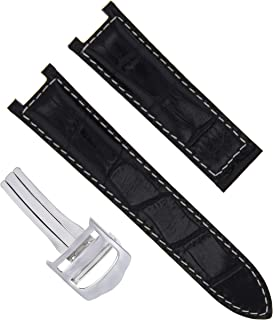 18MM LEATHER WATCH STRAP BAND CLASP FOR 35MM CARTIER PASHA 2377 BLACK WS #1PCS